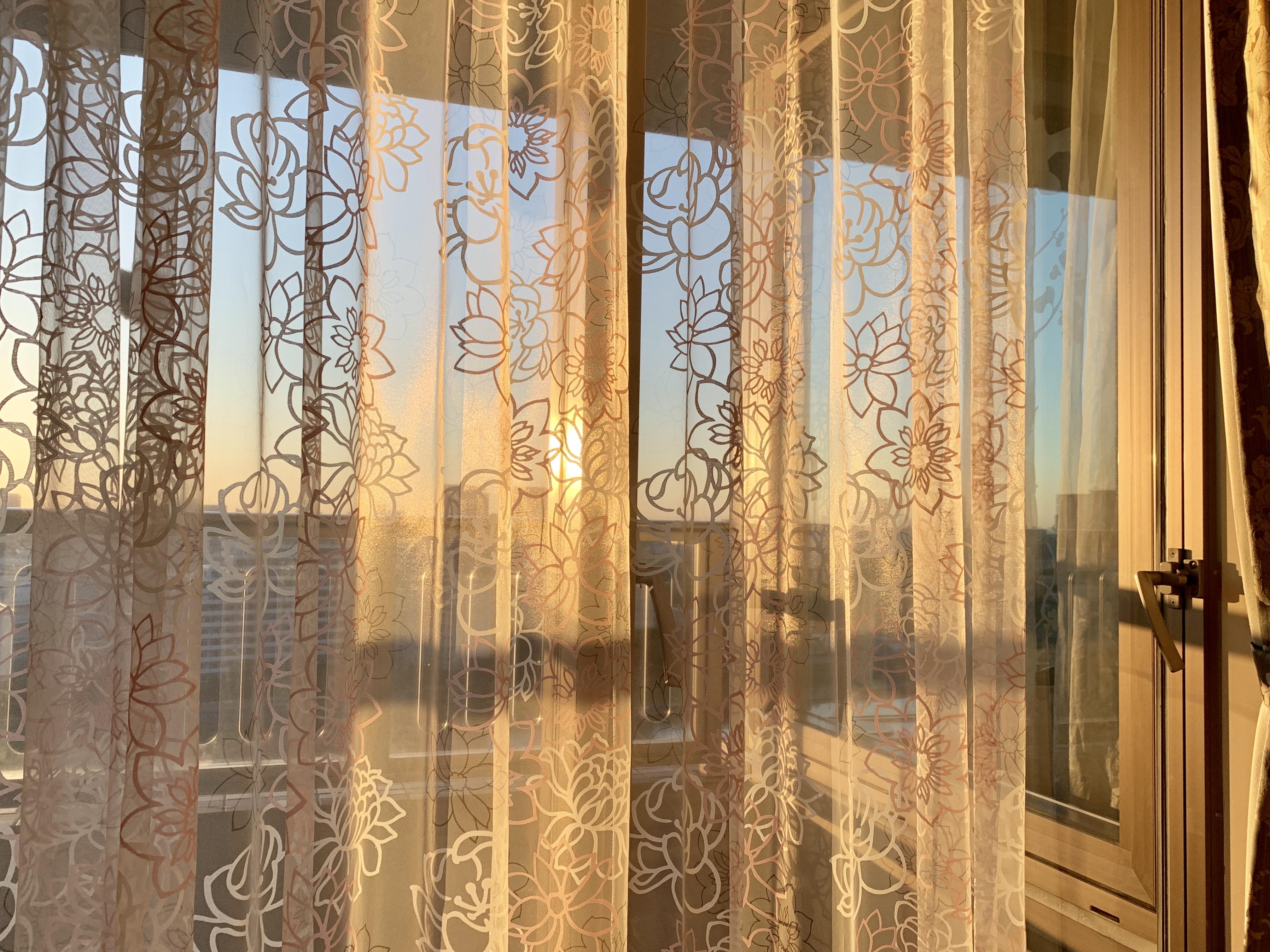 カーテン越しの朝陽🌄